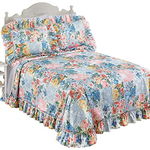 Collections Etc Abigail Plisse Floral Patchwork Ruffled Bedspread with Shades of Blue, Pink, Purple and Gold - Seasonal Décor for Bedroom, King ()