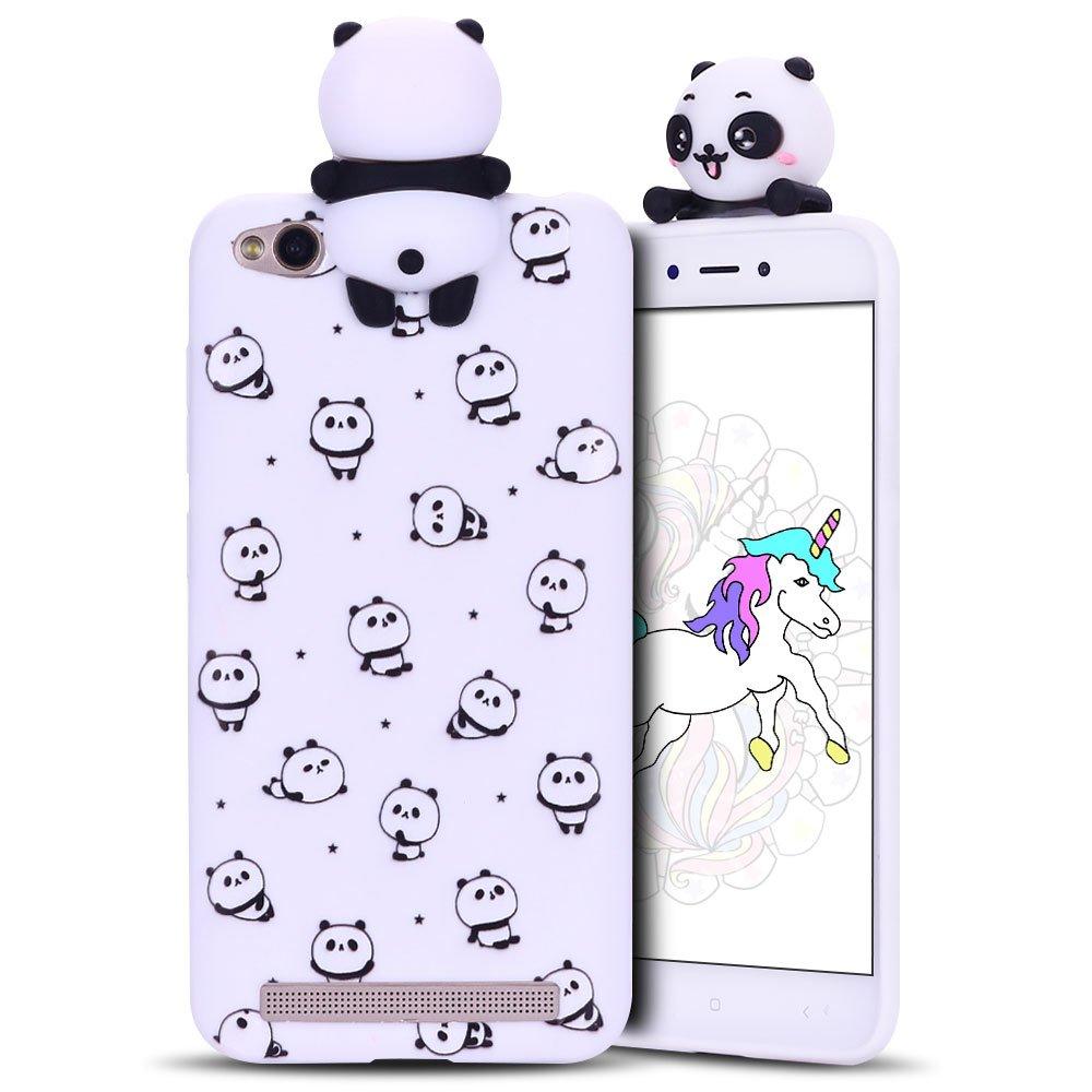 Peque/ño Panda Carcasa de Silicona Case Suave y Flexible Gel TPU Fundas Ultra Ligero Cubierta Trasero Anti-Gota Anti Rasgu/ños Bumper Cover 3D Mu/ñecas Protectora Caso Anfire Funda Xiaomi Redmi 5A