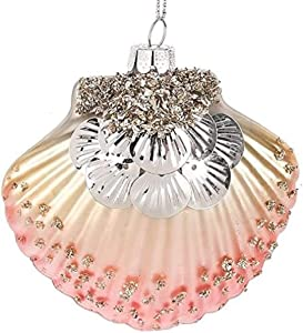 Midwest Seasons Clam Shell Pink Decorated Glass Beach Ocean Coastal Christmas Tree Ornament