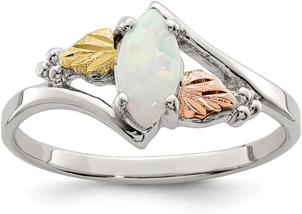 Mia Diamonds 925 Sterling Silver Solid Simulated Opal Ring