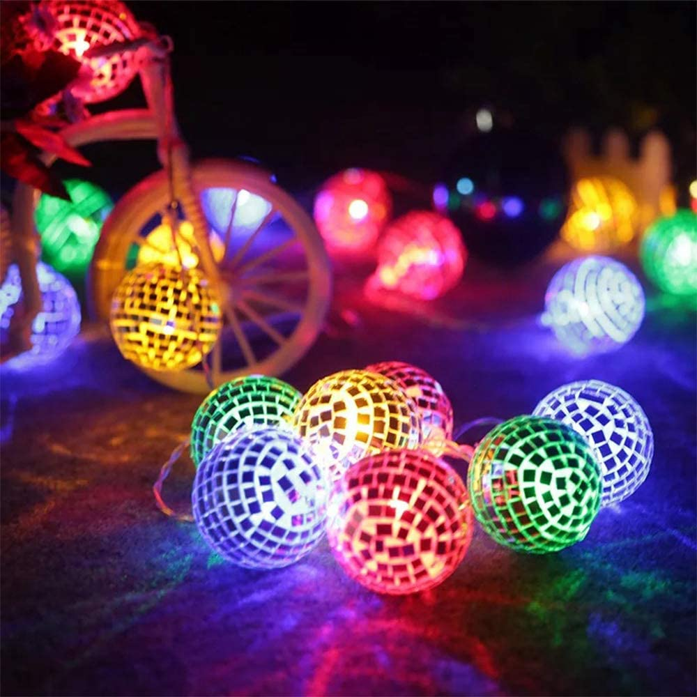50 LED Disco Ball Mirror LED Party Light String Christmas Lanterns for Holiday Wall Window Tree Decorations Indoor Outdoor Patio Party Yard Garden Kids Bedroom Living Dorm (Multicolor)