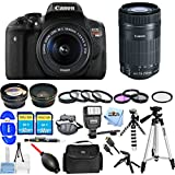 Canon EOS Rebel T6i DSLR Camera with EF-S 18-55mm f/3.5-5.6 IS STM Lens REFURBISHED 0591C003 [International Version] (Mega Bundle, 18-55mm + 55-250mm)