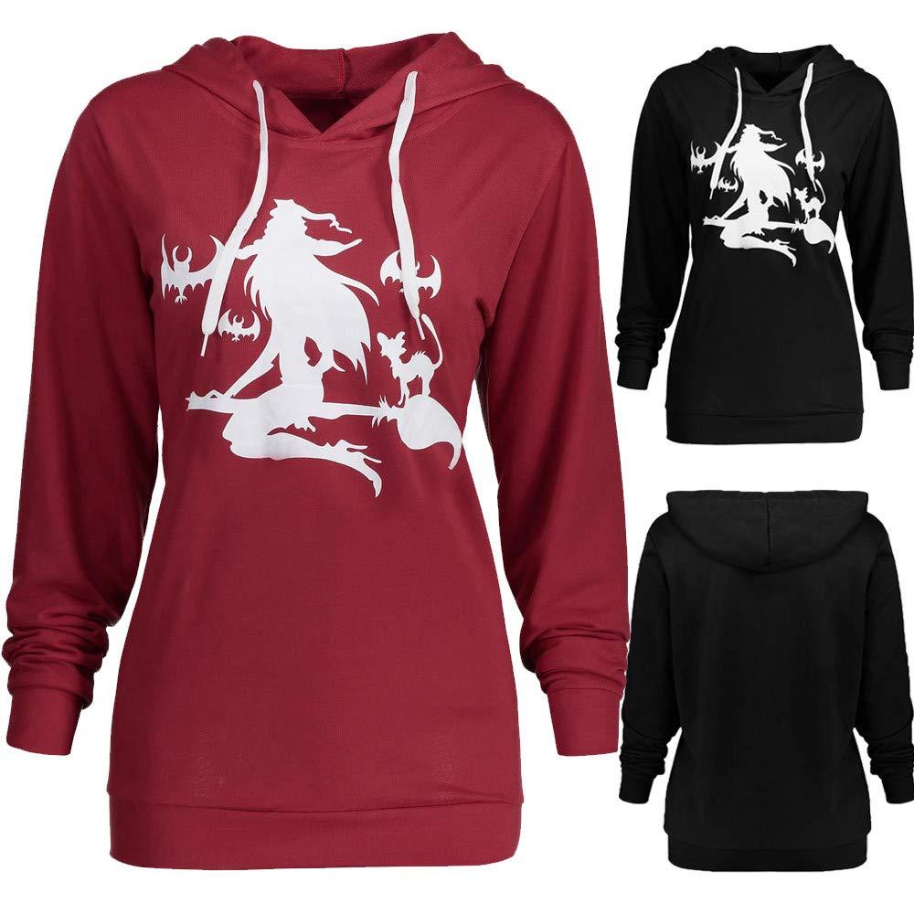 Roiper Femmes Polo Shirt Femmes Manches Longues Plus La Taille Halloween Sorcière Imprimer Sweat À Capuche Casual Tops Blouse