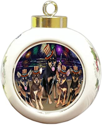 4th of July Firework Australian Kelpies Dog Round Ball Christmas Ornament RBPOR48166