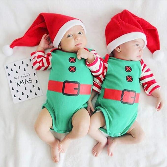 QinMM Bebés niñas niños Body + Sombrero Conjunto de Manga Larga a Rayas Navidad Mono Romper: Amazon.es: Ropa y accesorios