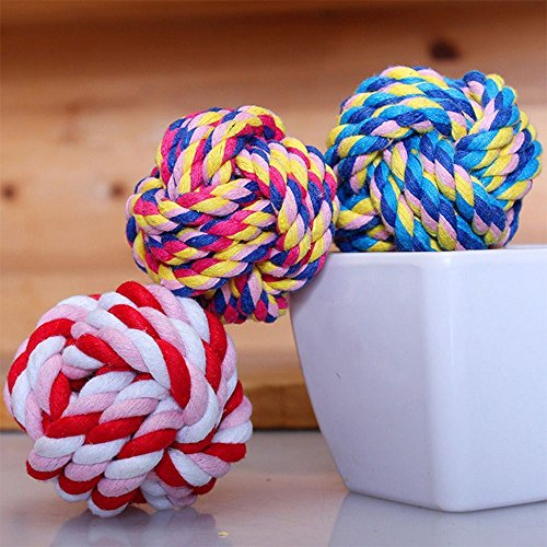 Pet Puppy Rope Cottons Braided Bone Knot Dogs Cats Play Toy Ball ()