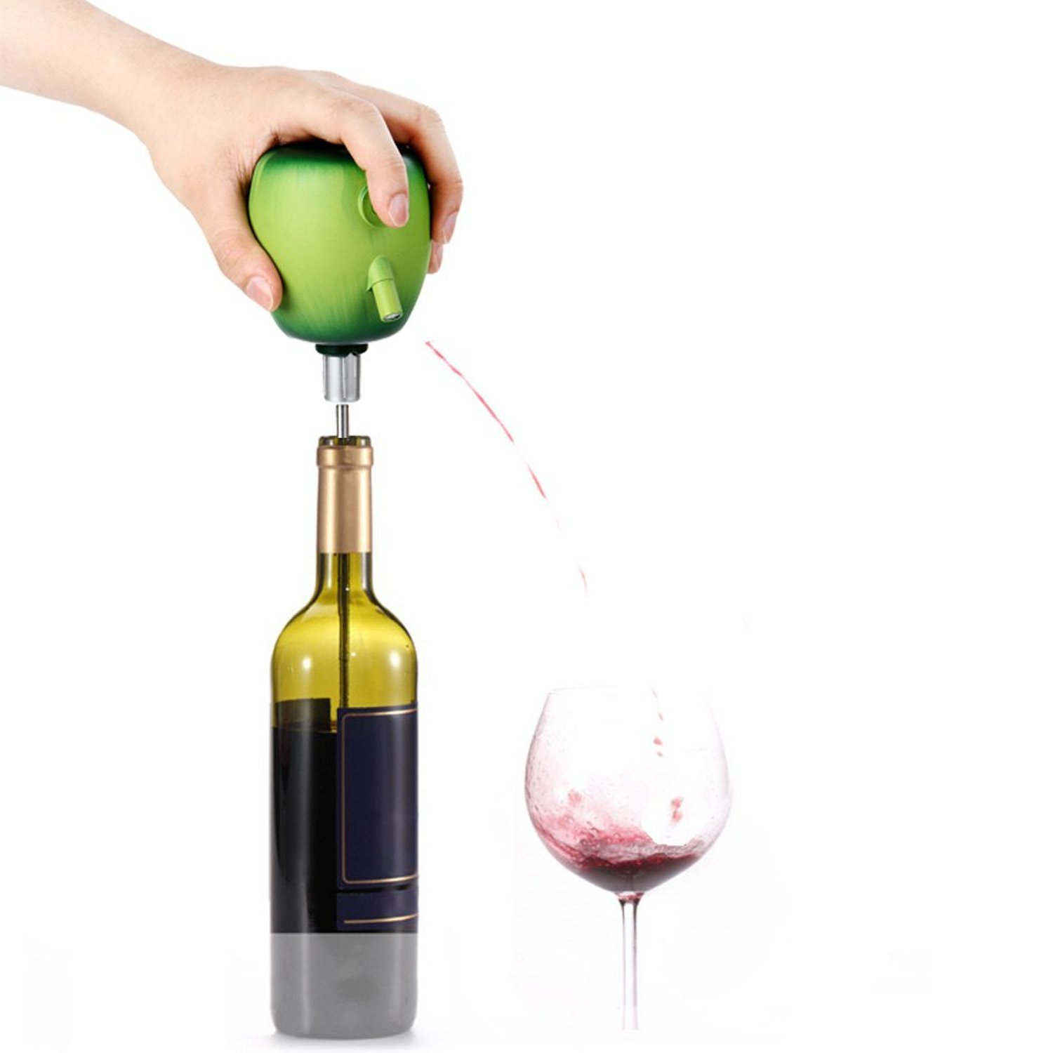 Electric Wine Decanter Pump Aerator Red Wine Pourer Green Apple Shape Food Grade Stainless Steel Sucker Bar Kitchen Home Party Accessories