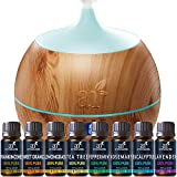 ArtNaturals Essential Oil and Bluetooth Diffuser Set – 400ml & Top 8 – Peppermint, Tee Tree, Rosemary, Orange, Lavender, and Frankincense – Auto Shut-off and 7 Color LED Lights – Therapeutic Grade