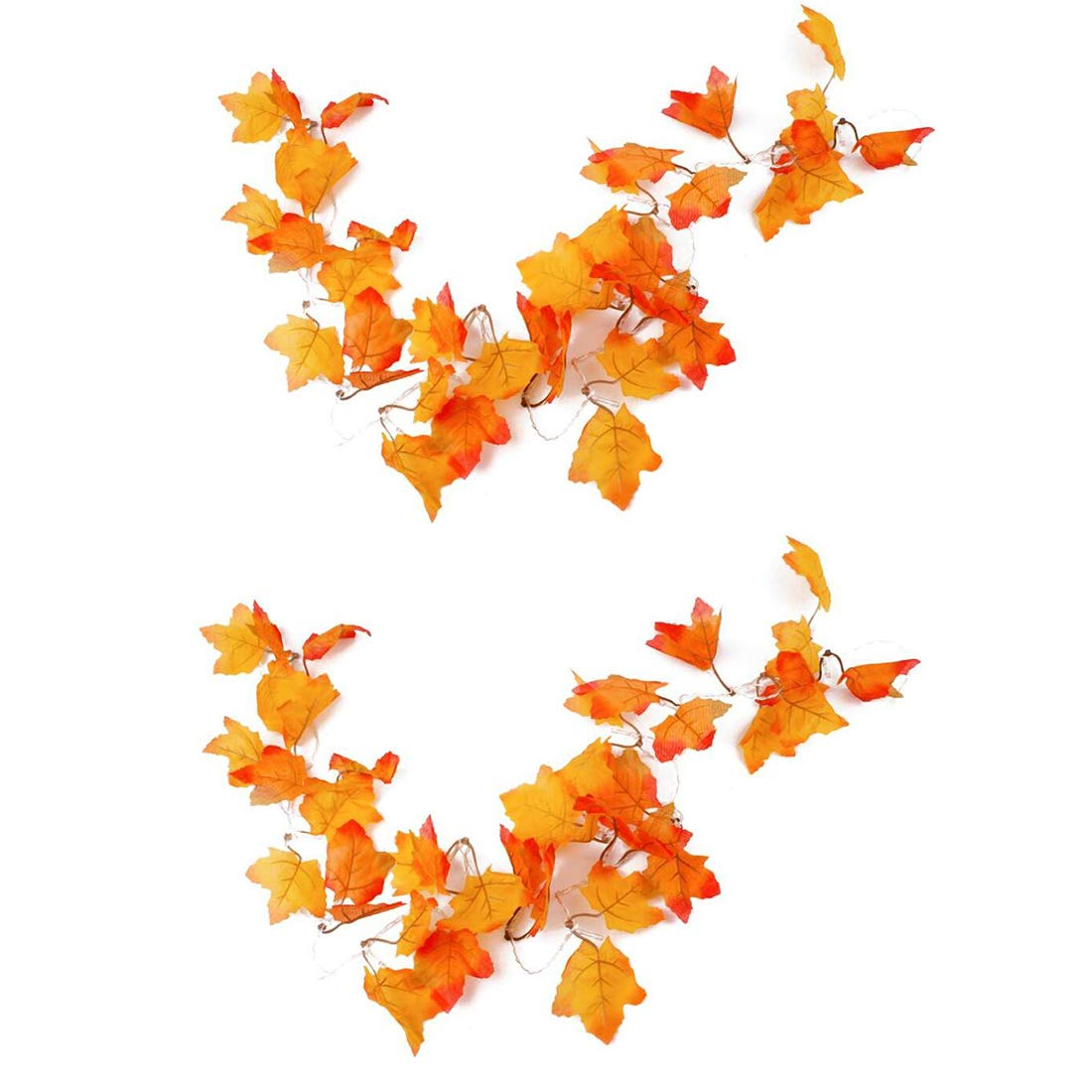 Thanksgiving Decorations Lighted LED Strip Lights Home Decorations Lighted -Shades of Orange and Yellow Leaves Fall Garland / 8.2 x 2 Feet/ 20 x 2 Lights /Warm white-(2PCS)