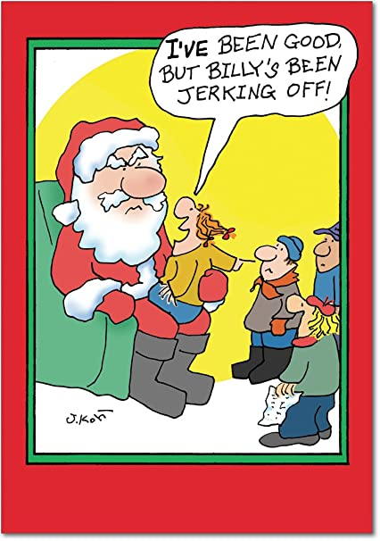 b5861 box set of 12 jerking off christmas cartoon humorous christmas greeting cards with envelopes - Humorous Christmas Cards