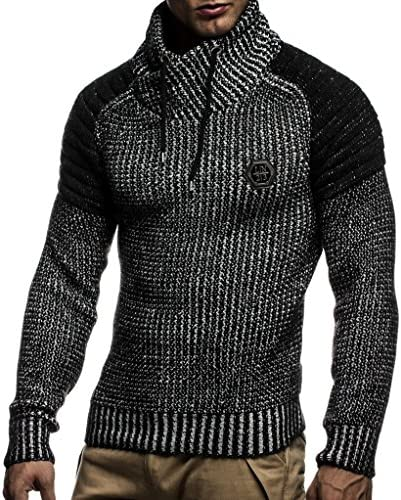 LEIF NELSON MEN'S KNITTED PULLOVER | LONG-SLEEVED SLIM FIT KNITWEAR | BIKER-STYLE SWEATSHIRT WITH SHAWL COLLAR FOR MEN