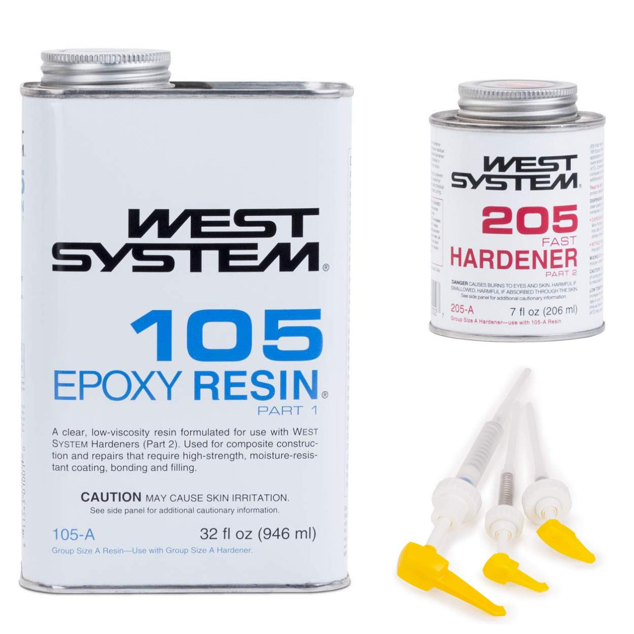West System 105A Epoxy Resin (1 qt) with 205A Fast Epoxy Hardener (.43 pt) + Mini Epoxy Metering Pump Set by WEST SYSTEM