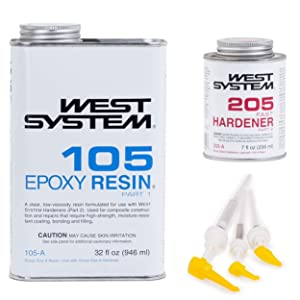 West System 105A Epoxy Resin (1 qt) with 205A Fast Epoxy Hardener (.43 pt) + Mini Epoxy Metering Pump Set