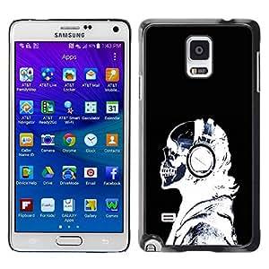 Caucho caso de Shell duro de la cubierta de accesorios de protección BY RAYDREAMMM - Samsung Galaxy Note 4 SM-N910 - Cool X-Ray Skeleton Headphones