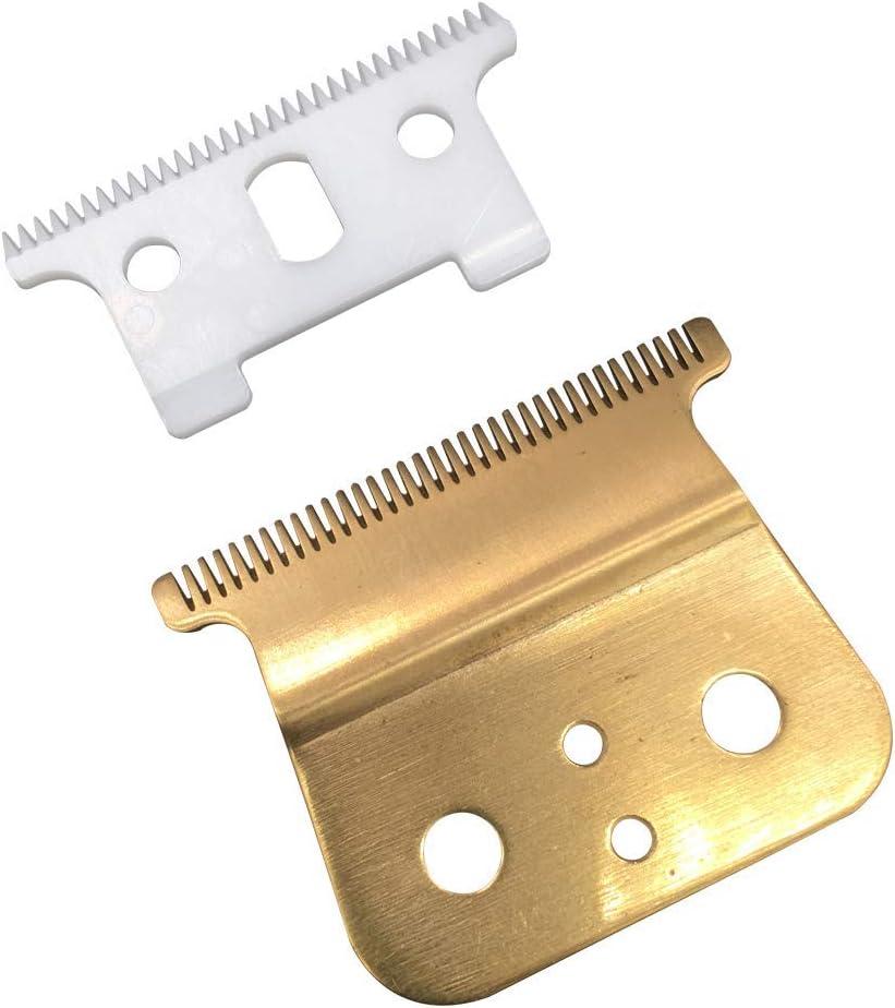 Pro T Outliner Cuchillas de Cerámica para Recortadora de Cabello Cuchillas de Cortapelos de Repuesto # 04521 - Poweka Compatible con Andis T Outliner Recortadora (Oro)