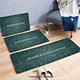 3 Piece Fashion Flannel Door Mat Carpet Astronomy Class Scientific School Decor Chalkboard Detailed Star Clusters for Door Rugs Living Room(W15.7xL23.6 by W19.6xL31.5 by W15.7xL39.4)