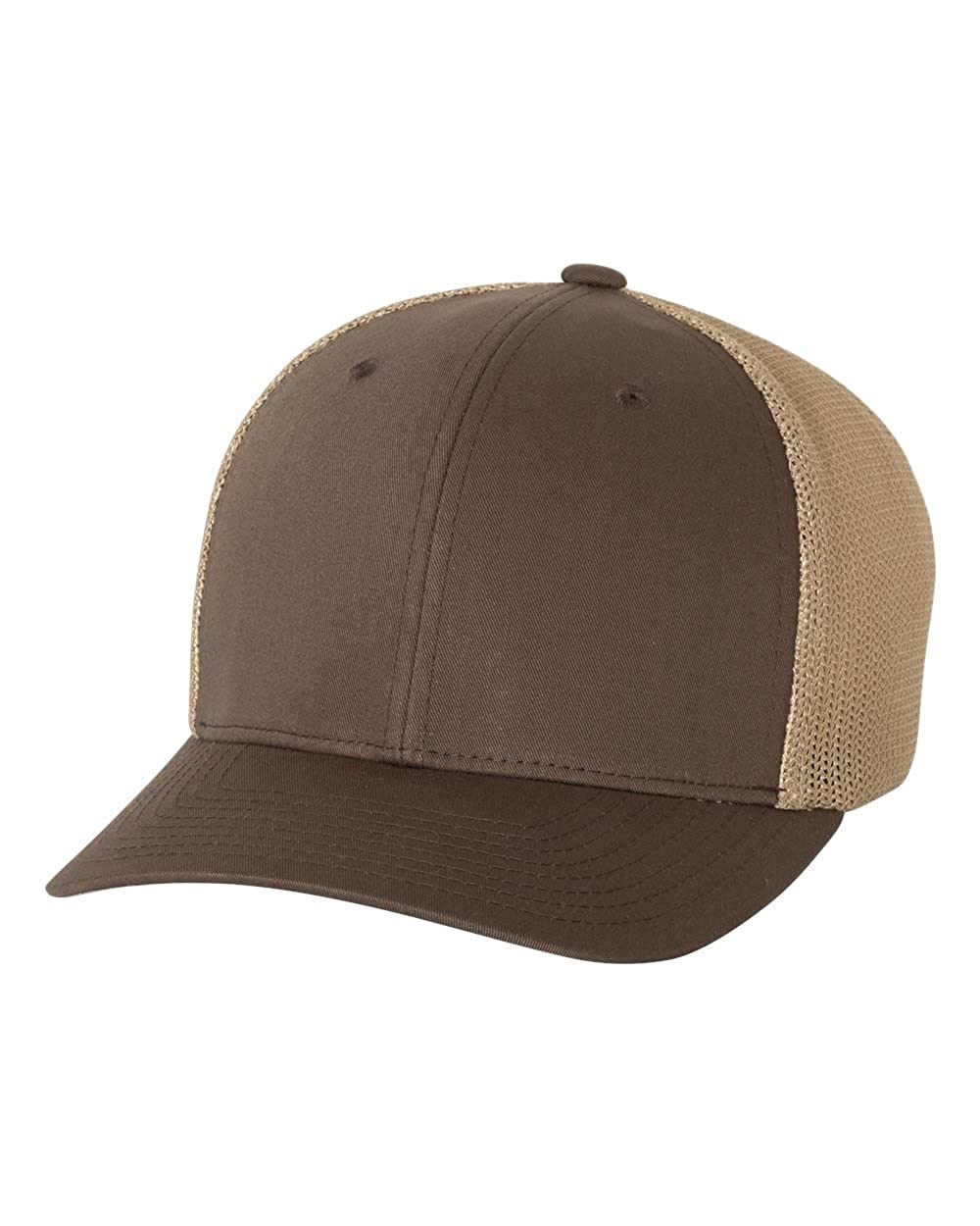 39877842b8f Flexfit Yupoong 6-Panel Trucker Baseball Cap 6511 (Brown Khaki) at Amazon  Men s Clothing store