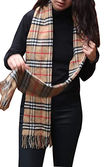 74ec900c0bb92 Burberry Classic Vintage Nova Check Lambswool Scarf (Brown) at Amazon  Women s Clothing store