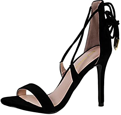 Women's Monna Sueded Ankle Wrap Heeled Sandal