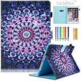 iPad 9.7 2017 / Air / Air 2 Case, LittleMax(TM) Ultra Slim PU Leather Lightweight Case Flip Folio Stand Smart Cover with Auto Wake / Sleep for Apple iPad 9.7 Inch 2017, Air 1 2 - 02 Purple Arabesque