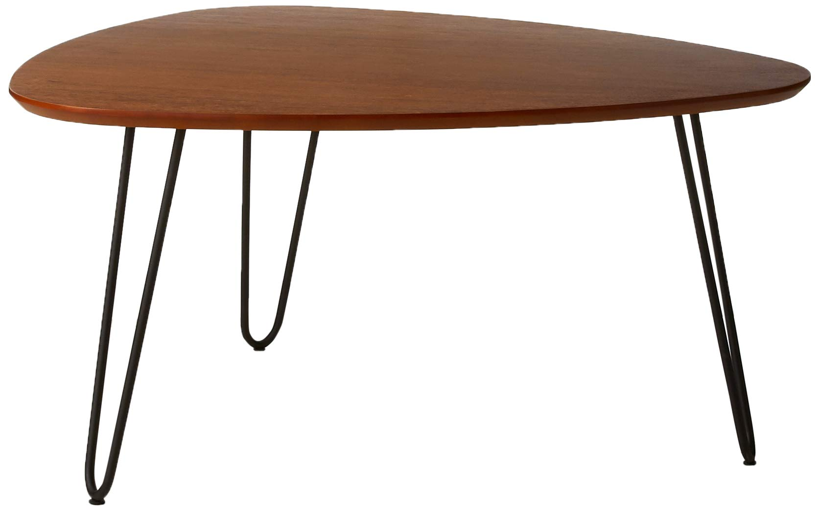 WE Furniture 32'' Walnut Wood Mid Century Modern Round Coffee Table Metal Hairpin Legs Simplistic Cocktail Table by WE Furniture