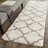 Safavieh Hudson Shag Collection SGH282A Ivory and Grey Runner, 2 feet 3 inches by 12 feet (2'3'' x 12')