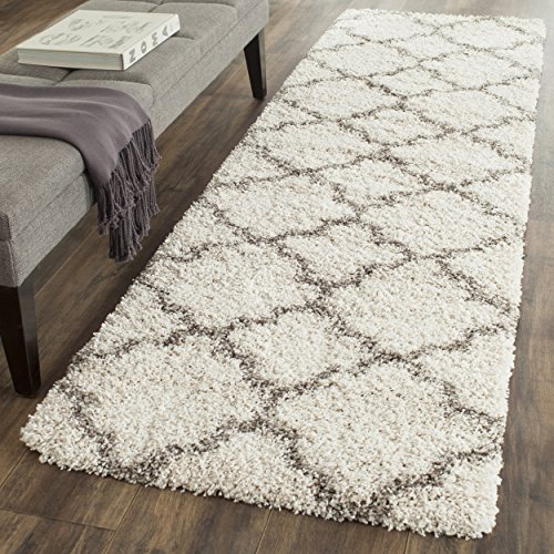 Safavieh Hudson Shag Collection SGH282A Ivory and Grey Moroccan Geometric Quatrefoil Area Rug (2'3