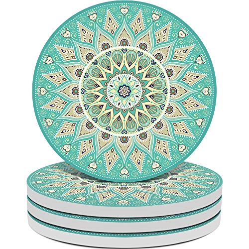 Kidac Coasters for Drinks Absorbent Ceramic Drink Coaster Set with Protective Cork Base Aqua Floral Mandala Pattern (4.1