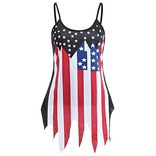 cb09dd1444ddac Alixyz Women Camisole Vest American Flag Casual Sleeveless Slip Irregular  Hem Tank Tops (S