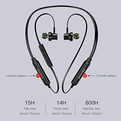 Amazon.com: Good-Memories G20BLS Neckband Wireless Earphone Sport Bluetooth Headphone Dual Battery with mic Headset Earpiece Auriculares for Phone,Gray ...
