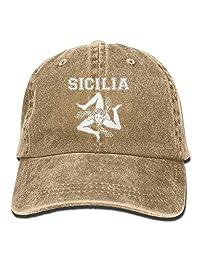 Haipaul Sicilian Trinacria - Sicilia Pride Vintage Adjustable Cowboy Cap Gym Caps Adult