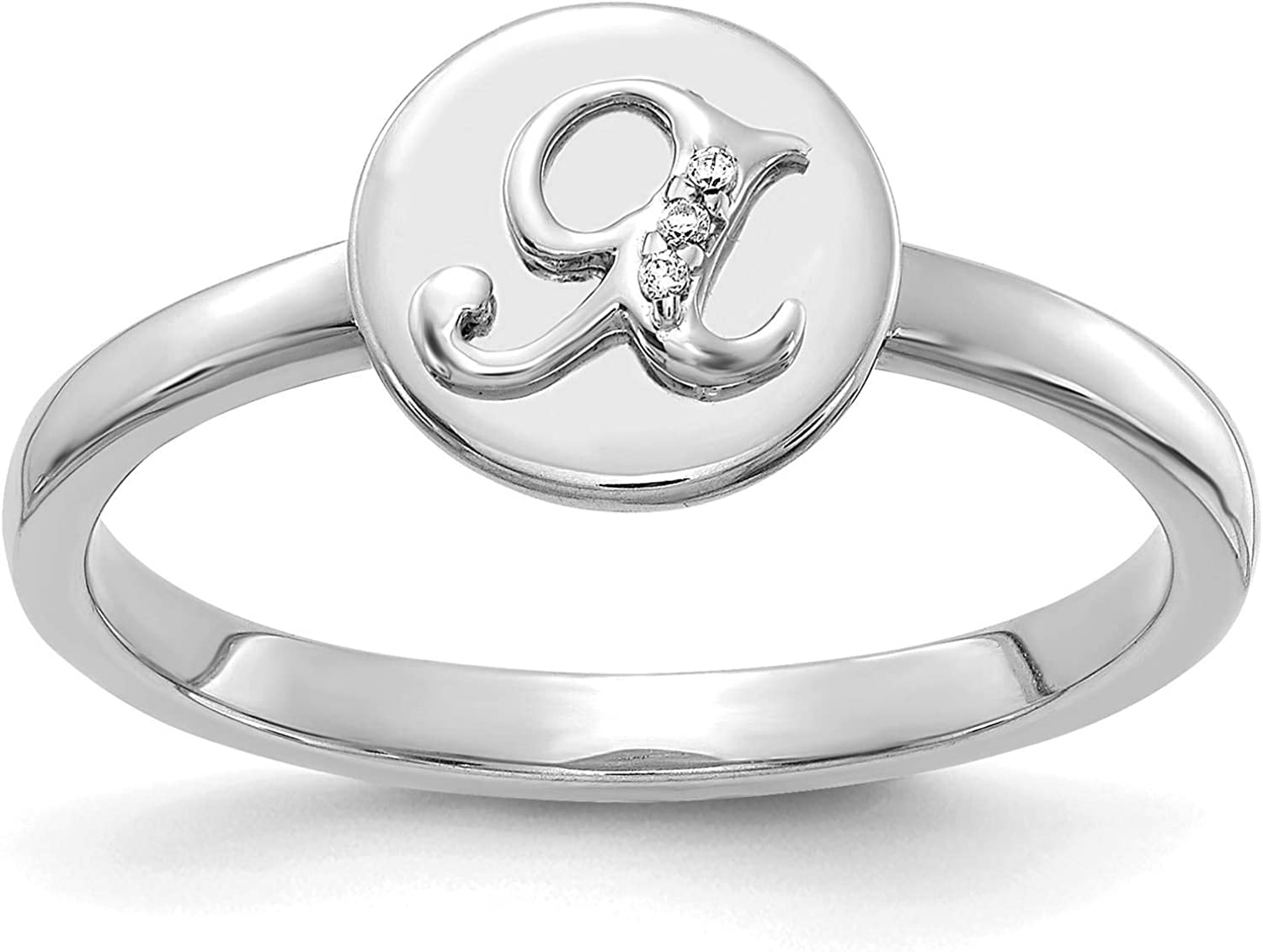 14k White Gold w//Diamond Accent Initial Letter X Ring Size 7