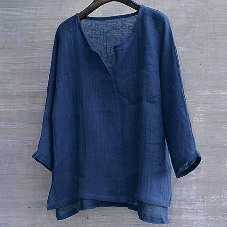 Luckycat Camiseta para Hombre Algodón Lino Blusa Cuello En V Solid ...