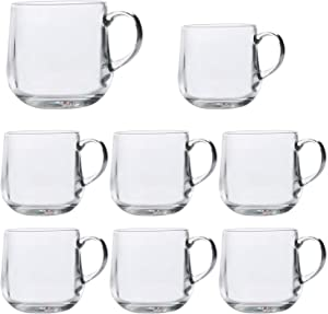 Coffee Mugs,Encheng Glass Coffee Mugs With Handle 15oz,Large Tea Mugs Clear,Drinking Glasses With Handle,Glass Cup Drinkware For Beverage,Juice,Latte Cups Cappuccino Mugs Beer Mug Water Cups Sets of 8