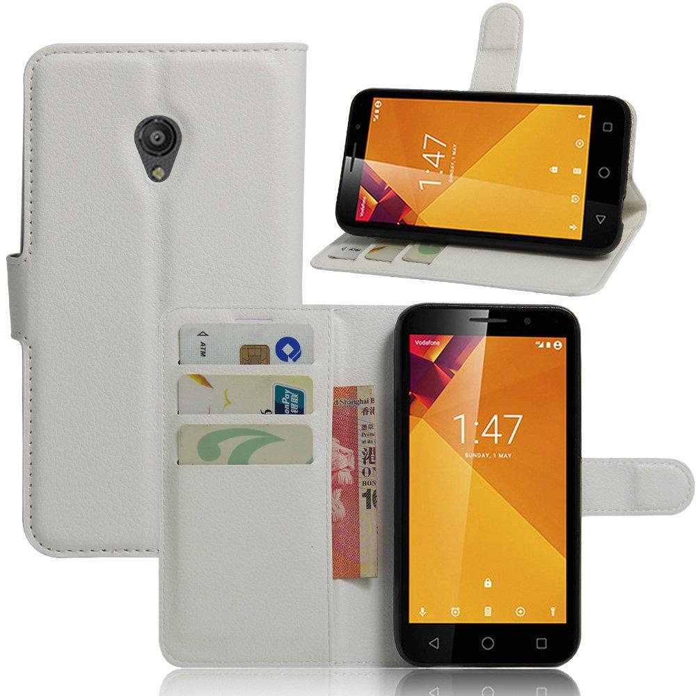Funda para Vodafone Smart Turbo 7 VFD500 Carcasa con Soporte Plegable, Ranuras para Tarjetas y Billetes, Broche Magnético, Cubierta de Material de Cuero: ...
