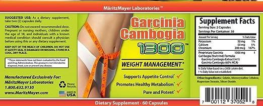 Amazon.com: Puro Extracto de Garcinia Cambogia 60% HCA dieta ...