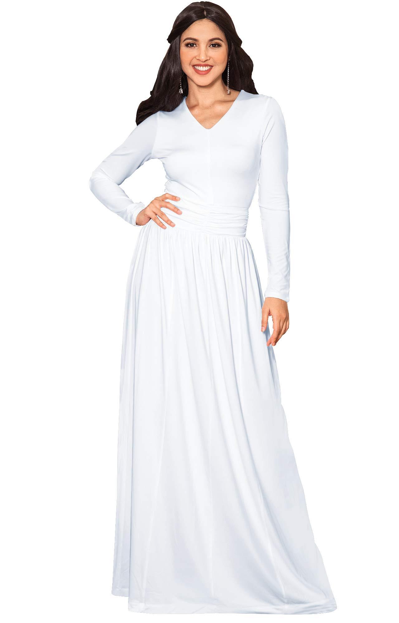 8b9e53a1cec23 KOH KOH Womens Long Sleeve Floor Full Length V-Neck Ruched Empire Waist Formal  Fall Winter Wedding Abaya Modest Muslim Evening Gown Gowns Maxi Dress  Dresses ...