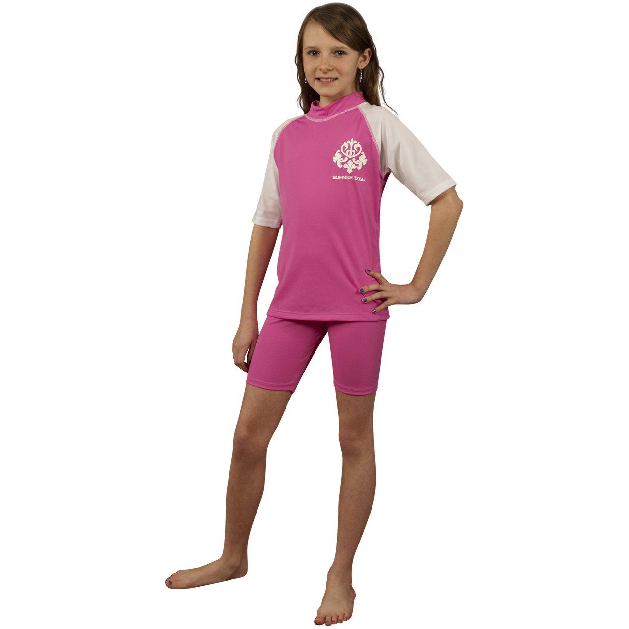 Sun Protection Rash Guard Swim Shirt for Girls -Pink UV Shirt and Swim Shorts Set -Sizes 2-12 Sun Emporium