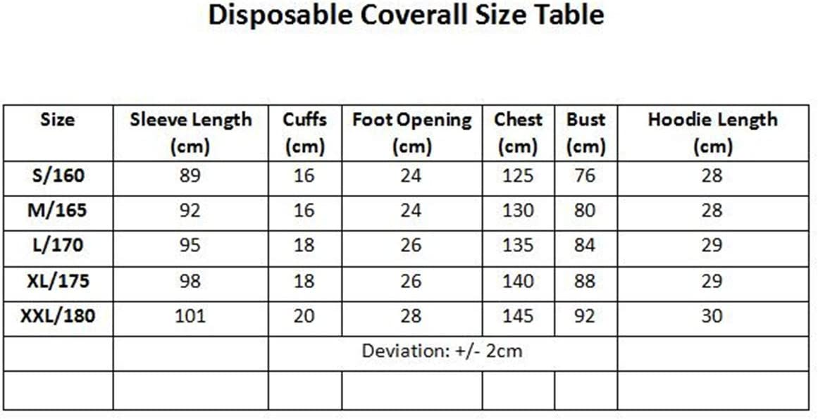 Dustproof Purification Fabric Isolated Clothing Hood Coverall Suit Disposable Protective Coverall Suit Full Body Protective from Hazmat and Contamination L//170CM Non-Woven Clothing