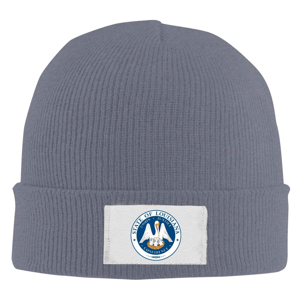 Stretchy Cuff Beanie Hat Black Dunpaiaa Skull Caps Louisiana State Flag Logo Winter Warm Knit Hats