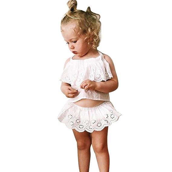 542adb39ca84 Culater® Nuovo 2 PZ Bambini Appena Nati Bimbo Estate Lace Bandage T-Shirt  Tops Shorts Pants Outfit Vestiti Set  Amazon.it  Abbigliamento