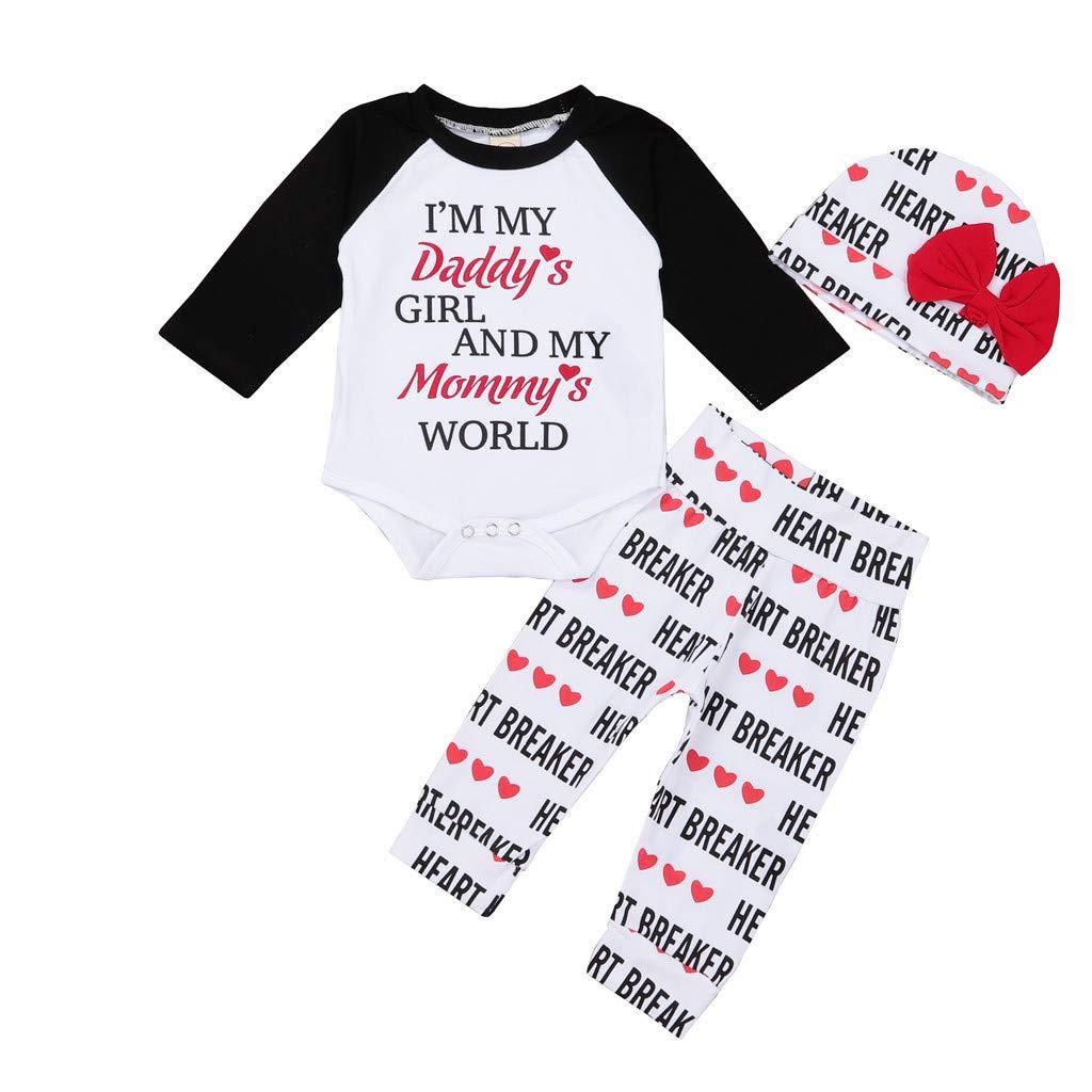 Baby Valentine Outfits Set–8Tipi Scelto–Neonato Stampa Tops + Pantaloni Abbigliamento Set