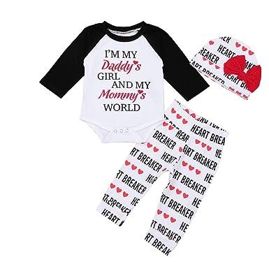 589534d08def Amazon.com  Hatop Newborn Infant Baby Boy Girl Letter Romper Tops ...