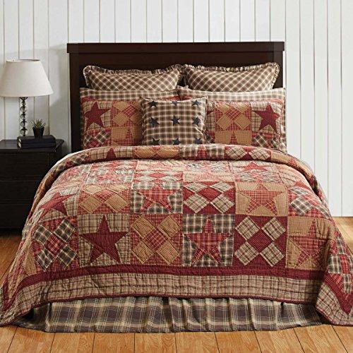 Deer Creek Quilt - 4pc Dawson Star Patchwork Stars Country King-Size Quilt Set-Shams-Burlap Toss Pillow