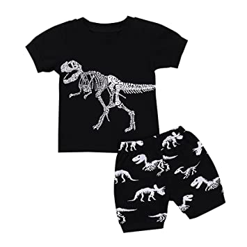90552bdfc685 Amazon.com  Daoroka Baby Clothes Toddler Baby Boys Girls Cartoon Dinosaur  Skull Print Tops+Shorts Pajamas Outfits Set  Toys   Games