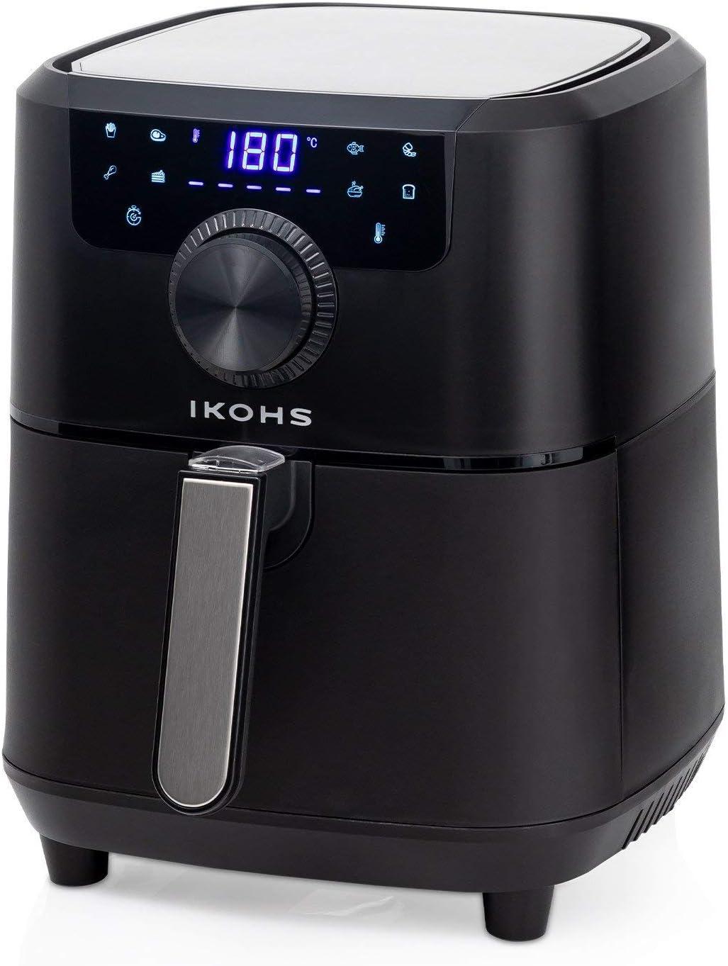 IKOHS HEALTHLY Pro Freidora sin Aceite, Cocina sin Aceite, 8 Programas Preinstalados, 3,5 l, 1500W, Cesta Antiadherente, Temperatura Cocción 80-200°, Apagado automático, Programable (Negro)