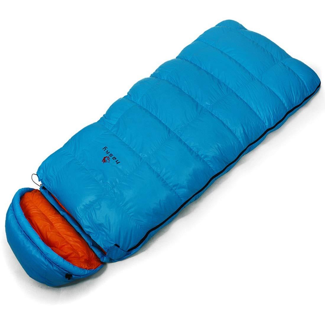 ArotOVL Schlafsack Warmer Umschlag mit Kappe Baumwollschlafsack tragbare einzelne atmungsaktive Schlafsack für Camping, Reisen (Farbe   Blau)