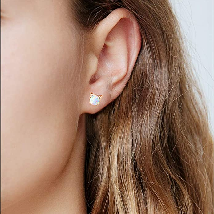 Gold Star Earrings for Girls Hypoallergenic Fire Opal Stud Earrings For Women ARSKRO S925 Sterling Sliver Little Small Tiny Cute Earring Jewelry Gifts for Sensitive Ears Toddlers Kids