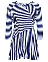 Meaneor Plus Size Casual Striped T-Shirt Dress O-Neck Asymmetrical Tops