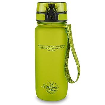 SMARDY Tritan Botella de Agua para Beber Verde - 650ml - de plástico sin BPA -